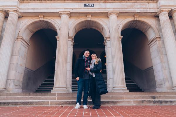Jennifer Kmetich and John Lundy celebrate their engagement