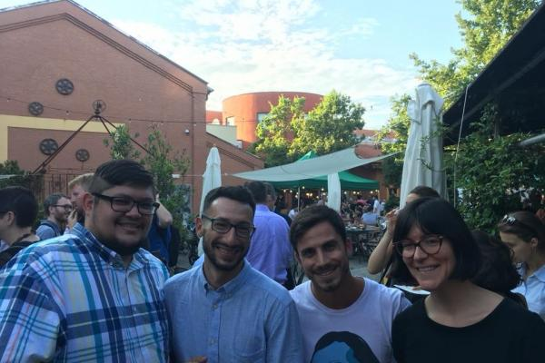 From left to right: Dan Paul, Erik Scaltriti, Demetrio Antolini, and Spanish graduate Student, Caroline Shipley