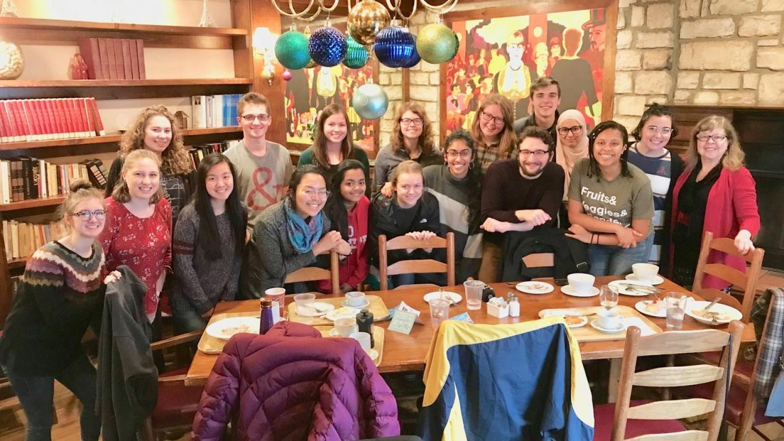 French 2101 Honors students enjoy a meal at La Chatelaine with Dr. Danielle Marx-Scouras